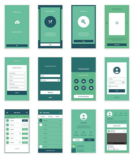 mobile benutzeroberfläche 35 bildschirme wirefrme kit für onboarding-assistent - webdesigner grafiken stock-grafiken, -clipart, -cartoons und -symbole