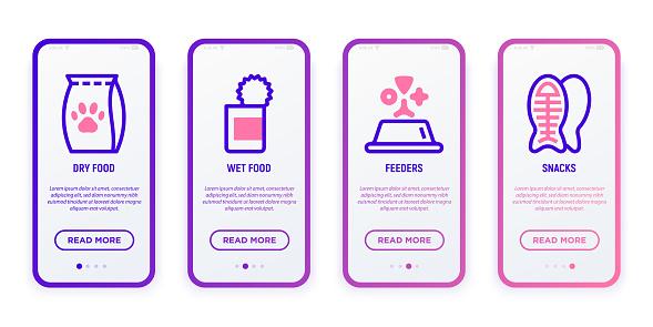 Interfaz de usuario móvil para tienda de mascotas con iconos de línea delgada: comida para gatos, comida seca para mascotas, comederos, refrigerio para mascotas. Ilustración vectorial moderna.