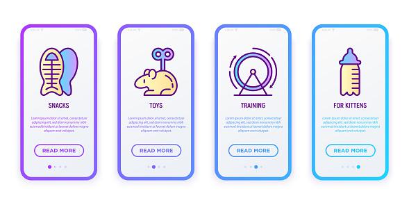 Interfaz de usuario móvil para tienda de mascotas con iconos de línea delgada: aperitivos, juguetes, entrenamiento, para gatitos. Ilustración vectorial moderna.
