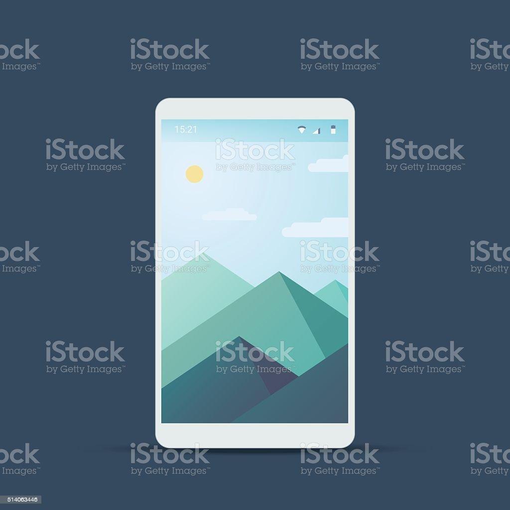 モバイルユーザーインターフェース画面資料のデザインの背景山々の風景