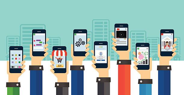 ilustrações de stock, clip art, desenhos animados e ícones de os utilizadores de telemóvel - video call