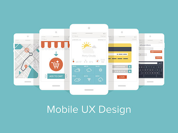 Mobile UX. Flat vector collection of modern mobile phones with different user interface elements. banking drawings stock illustrations