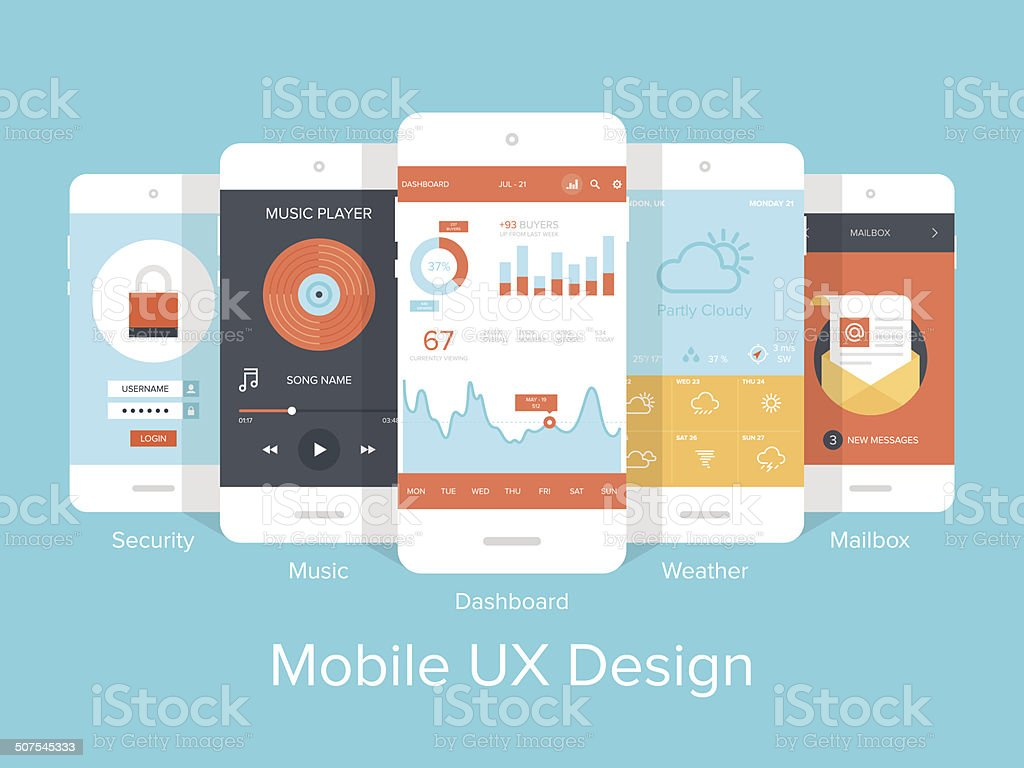 Mobile UX. vector art illustration