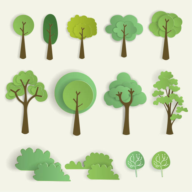 Mobile Set of tree in paper cut style, vector illustration. paper craft stock illustrations
