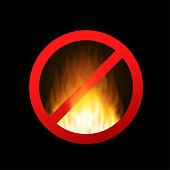 No fire. No open flame sign on black background