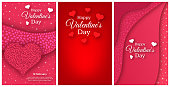 Happy Valentines Day Background. Set of three vertical stories banners. Valentines day poster with red, white and pink hearts. Vector illustration.