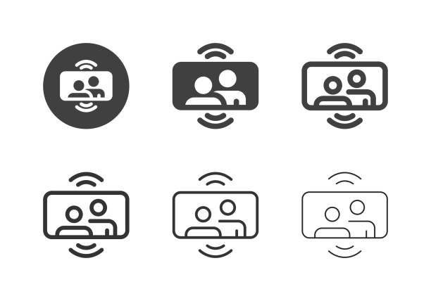 Mobile Video Call Icons - Multi Series vector art illustration