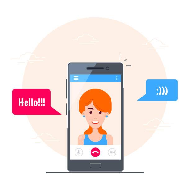 illustrazioni stock, clip art, cartoni animati e icone di tendenza di mobile video call - woman chat video mobile phone