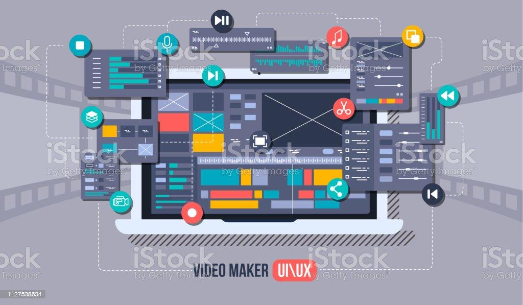 Mobile Video Editor Flat Vector Concept Motion Design Studio