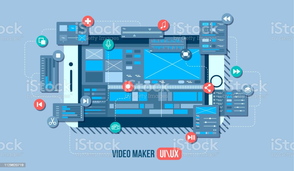 Mobile Video Editor Flat Vector Concept Motion Design Studio Video