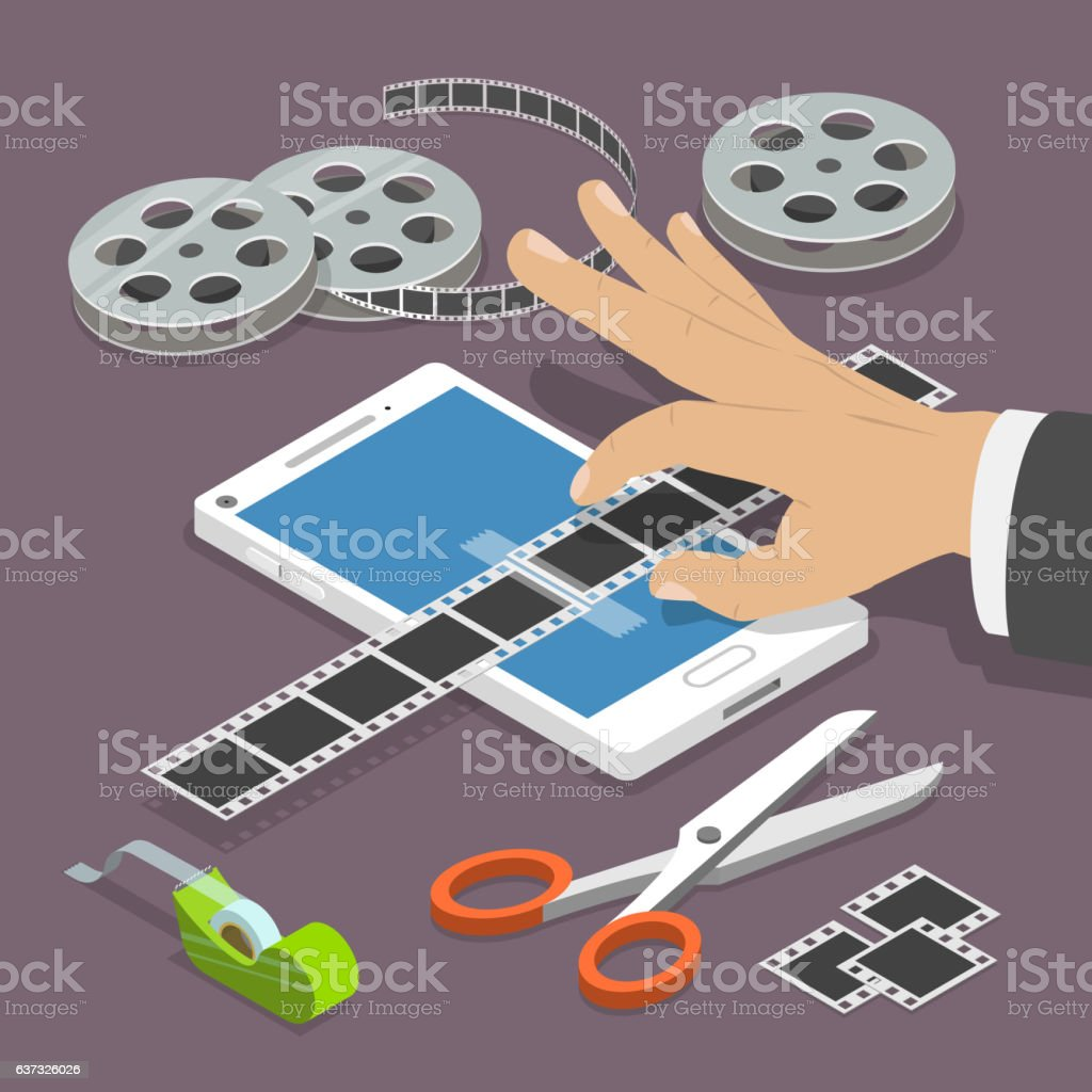 Mobile video editor flat vector isometric concept. vector art illustration