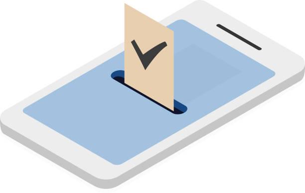 Mobile vote system vector art illustration