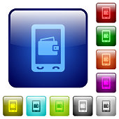 Mobile wallet color square buttons