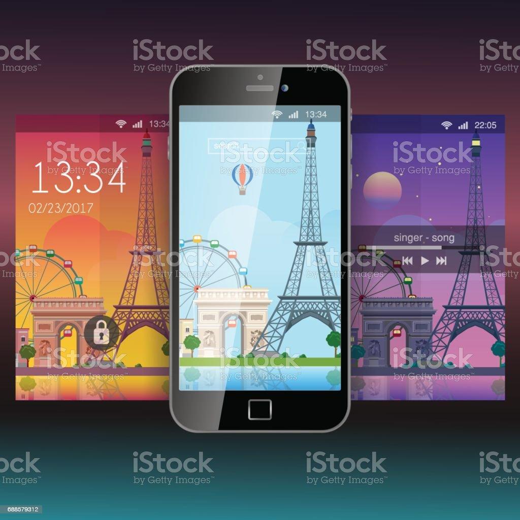 Fond Décran Mobile Moderne Paris City Tour Eiffel Plat Style