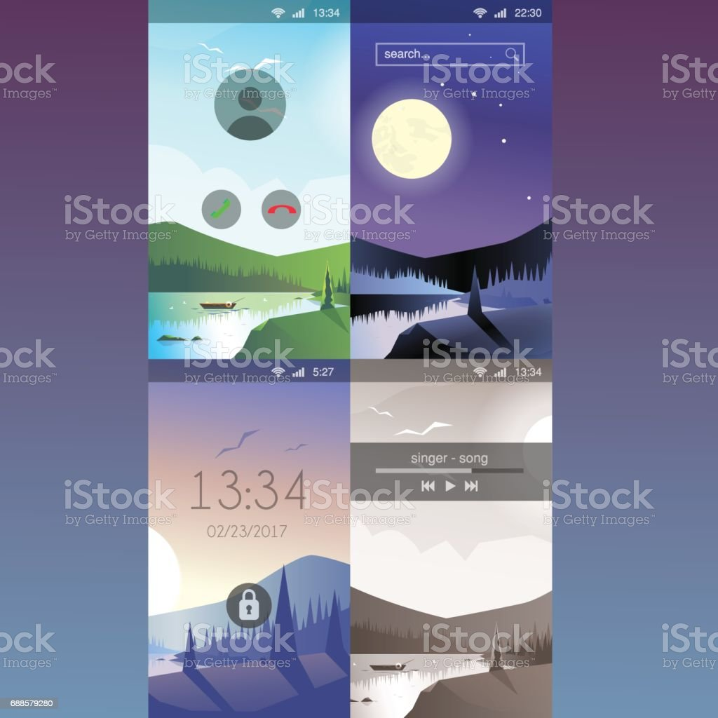 Simple Wallpaper Mountain Lock Screen - mobile-wallpaper-mountain-forest-river-bank-outdoor-scenic-flat-style-vector-id688579280  Gallery_25485.com/vectors/mobile-wallpaper-mountain-forest-river-bank-outdoor-scenic-flat-style-vector-id688579280