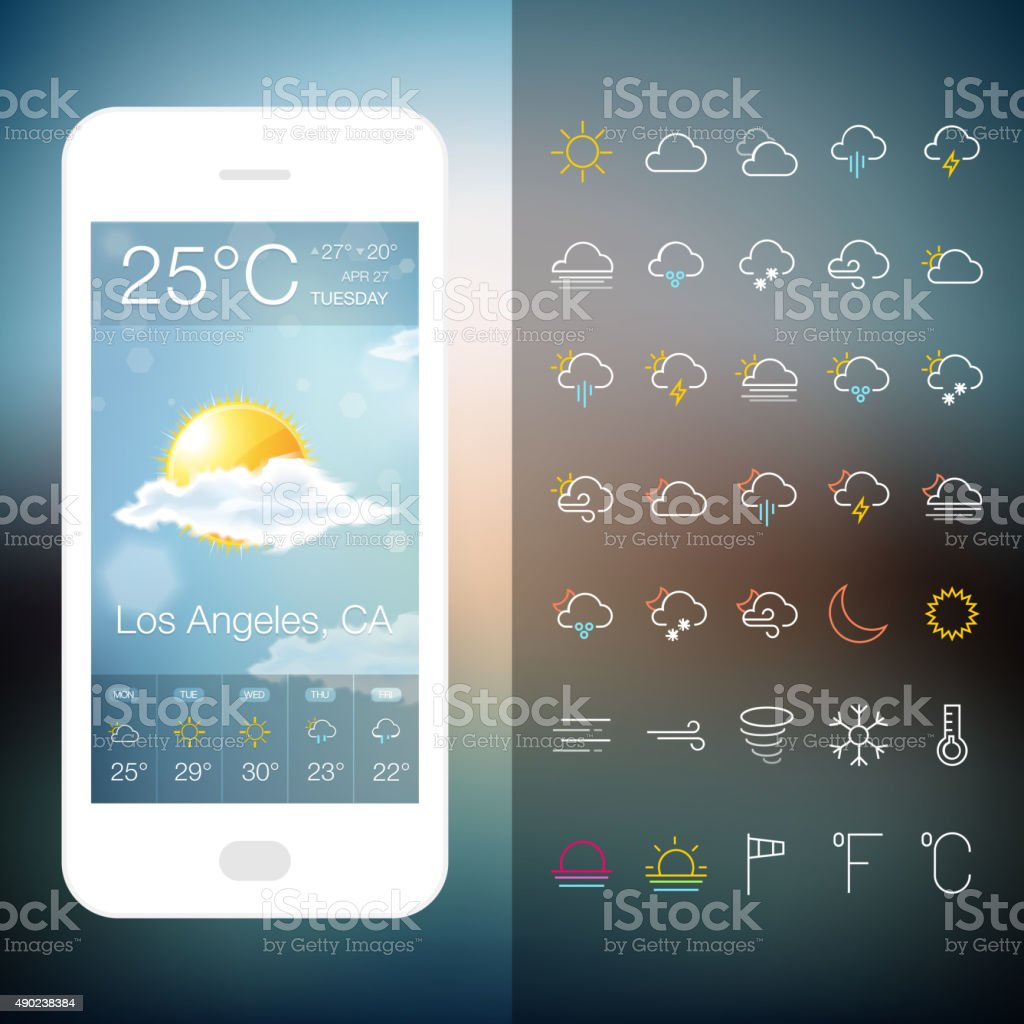 Mobile Weather Application Screen with icon set vector art illustration