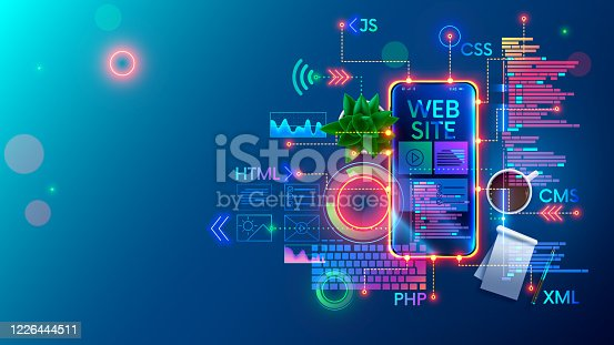 Mobile Website development technology conceptual illustration. Design of internet pages of layout site on screen phone. Programming software of smartphone apps and webpages. Web coding Banner Concept.