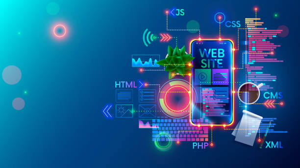 Mobile Website development technology conceptual illustration. Design of internet pages of layout site on screen phone. Programming software of smartphone apps and webpages. Web coding Banner Concept. vector art illustration