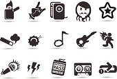 A set of generic royalty-free rockstar and rock music icons from mystockicons