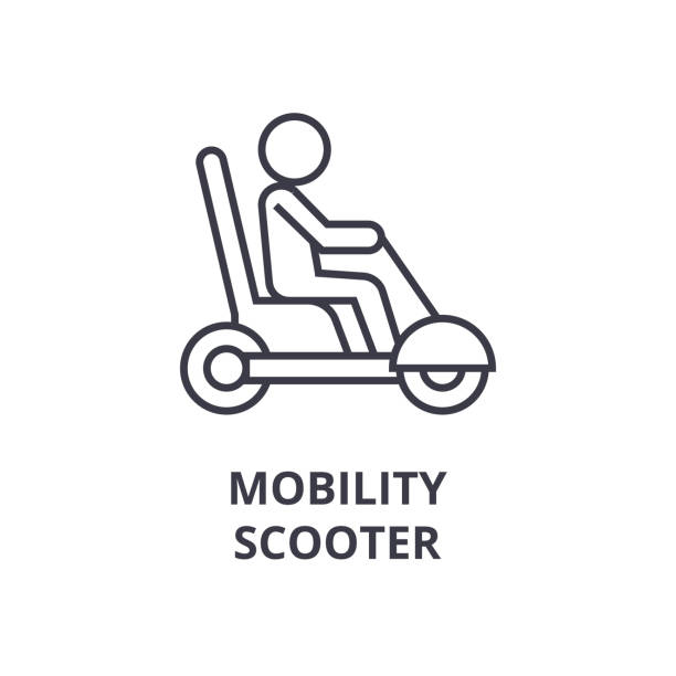 mobility scooter line icon, outline sign, linear symbol, vector, flat illustration - old man sitting chair clip art stock illustrations, clip art, cartoons, & icons