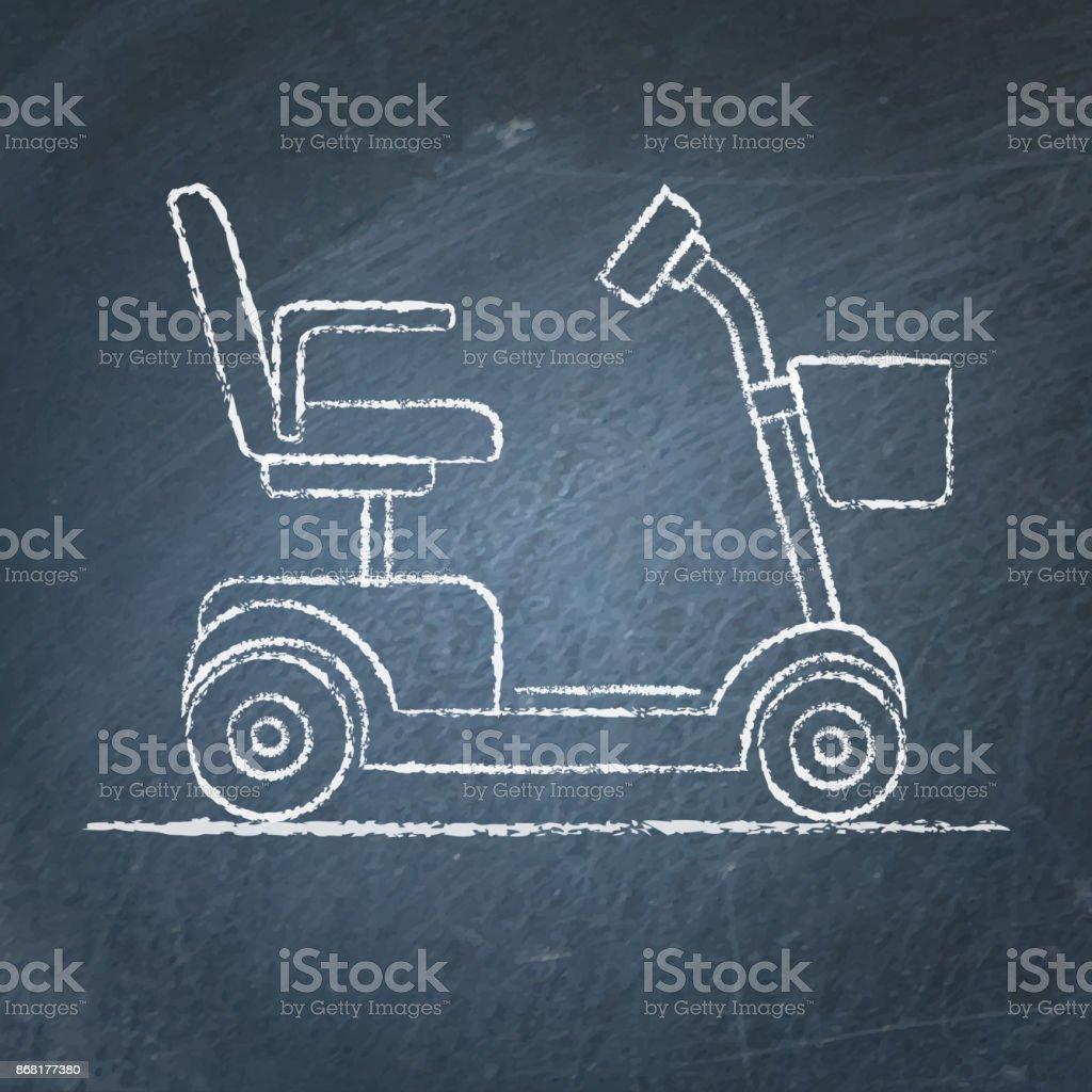 Mobility scooter sketch on chalkboard vector art illustration