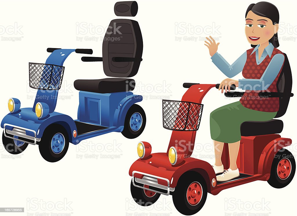 Mobility scooters and older lady vector art illustration