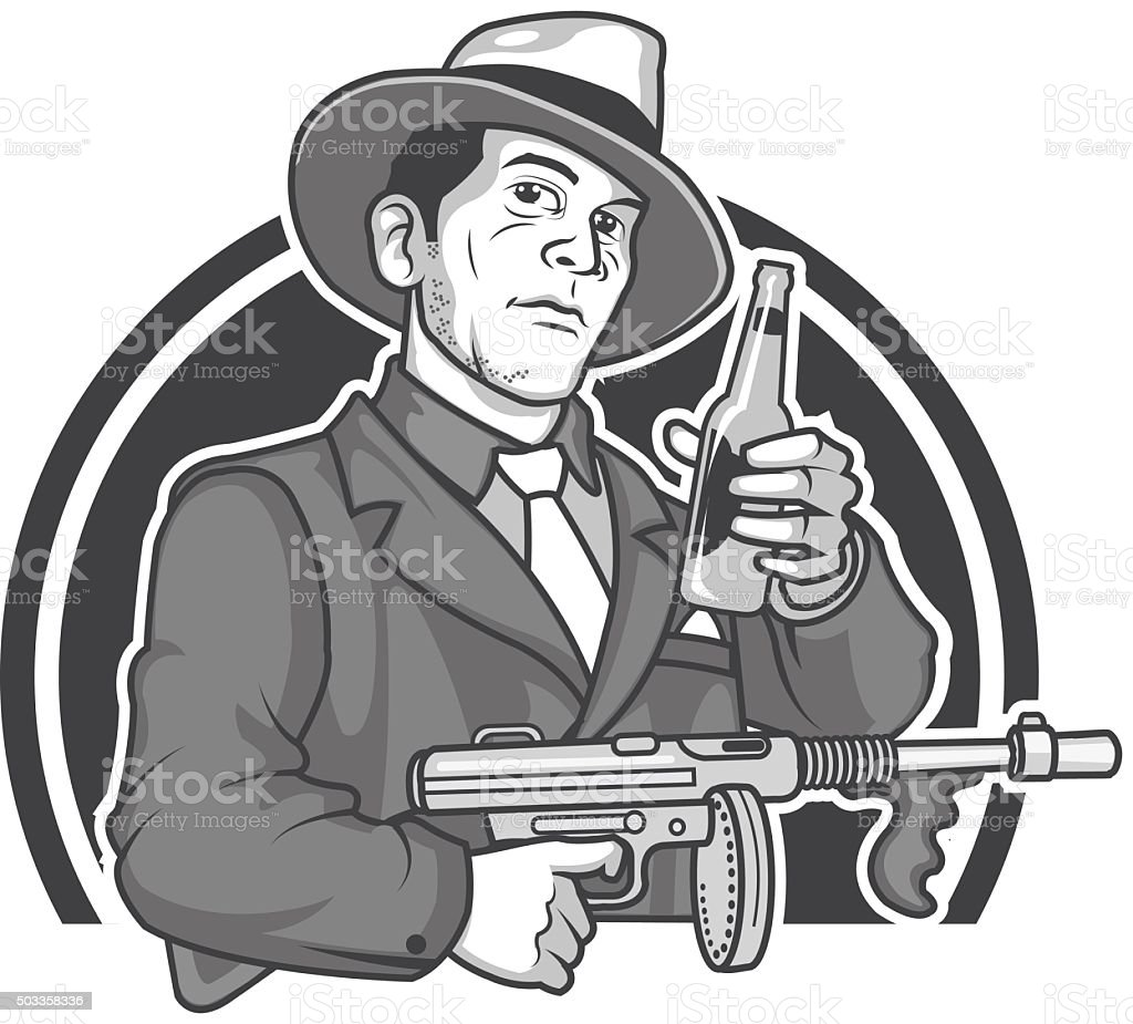 Tommy Gun Gangster Drawings Royalty Free Gangster ...