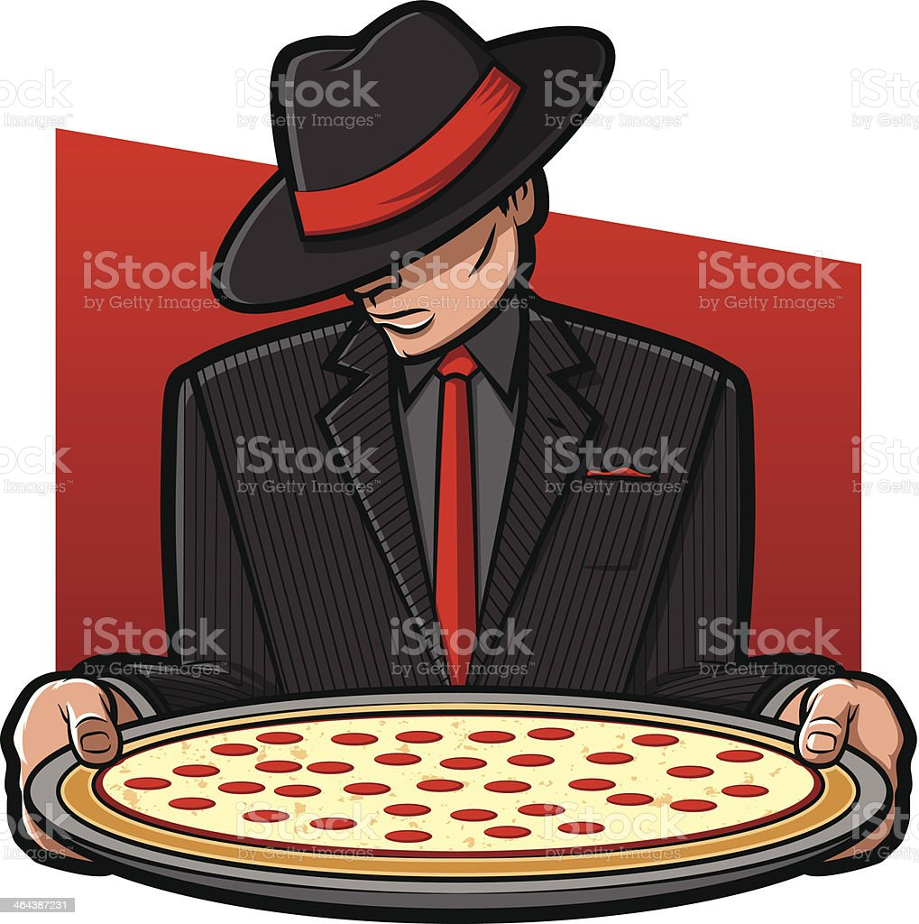 Mobster Holding Pizza vector art illustration
