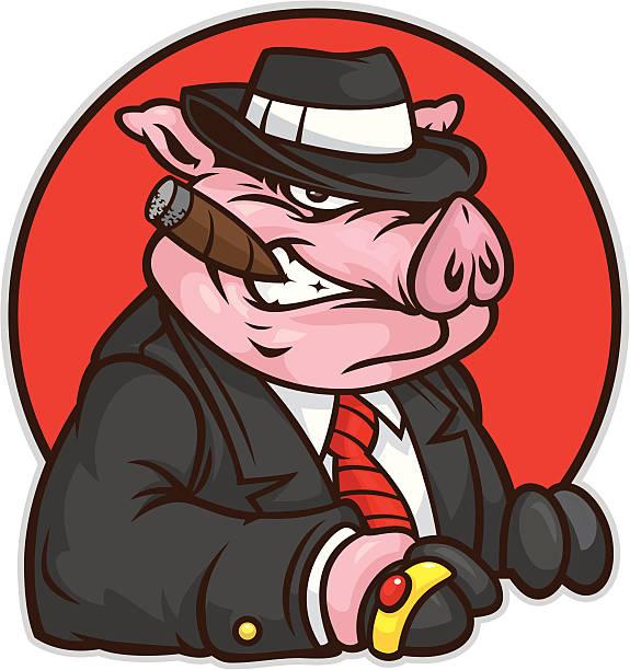 mobster pig - gangster stock illustrations, clip art, cartoons, & icons