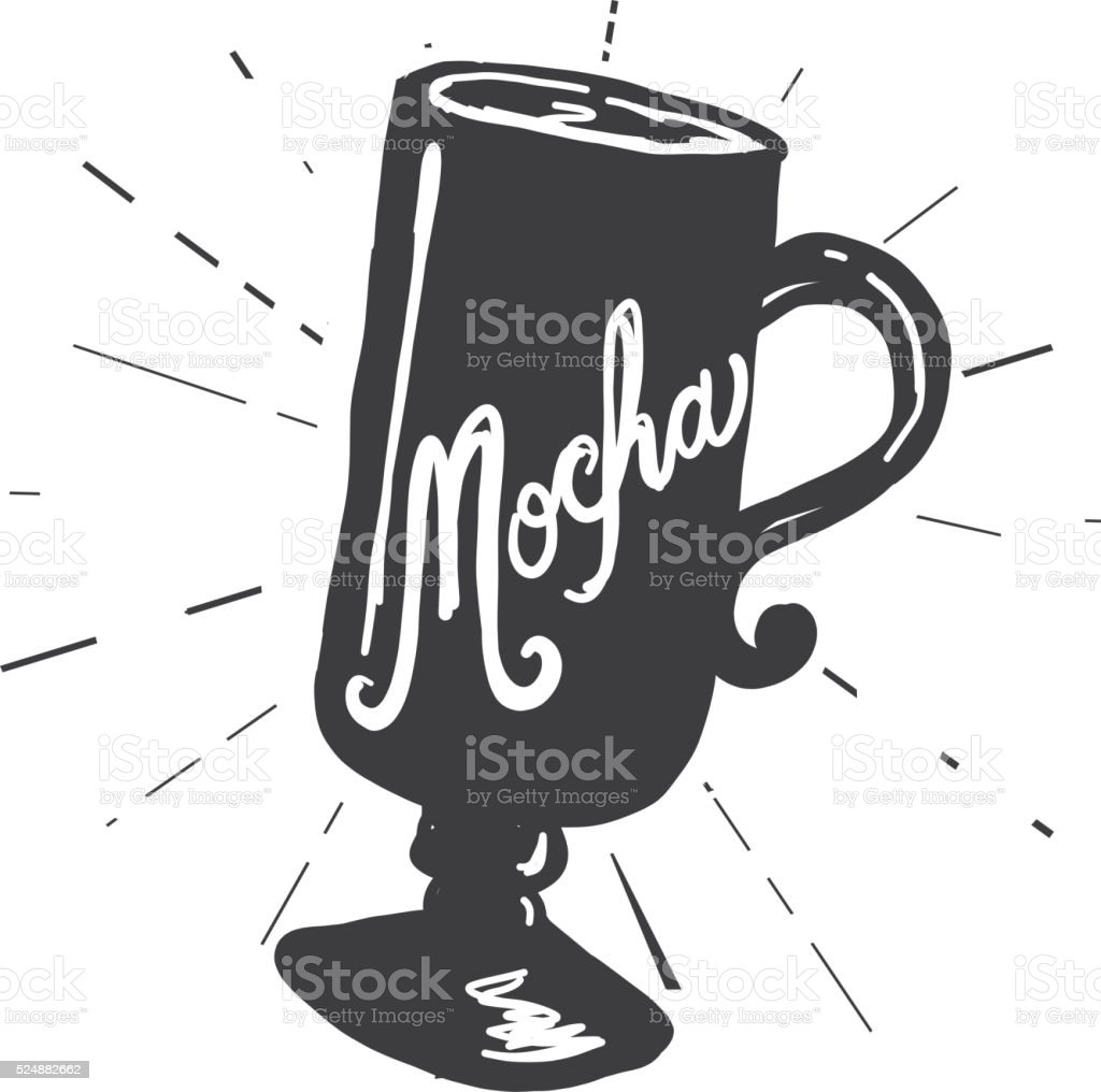 Mocha coffee cup label hand lettering design vector art illustration