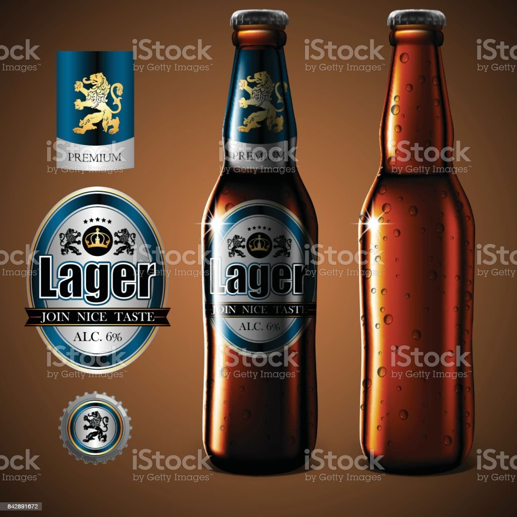 Mock Up beer label design, bottle and glass of beer with droplets of moisture. Highly realistic illustration with the effect of transparency. vector art illustration