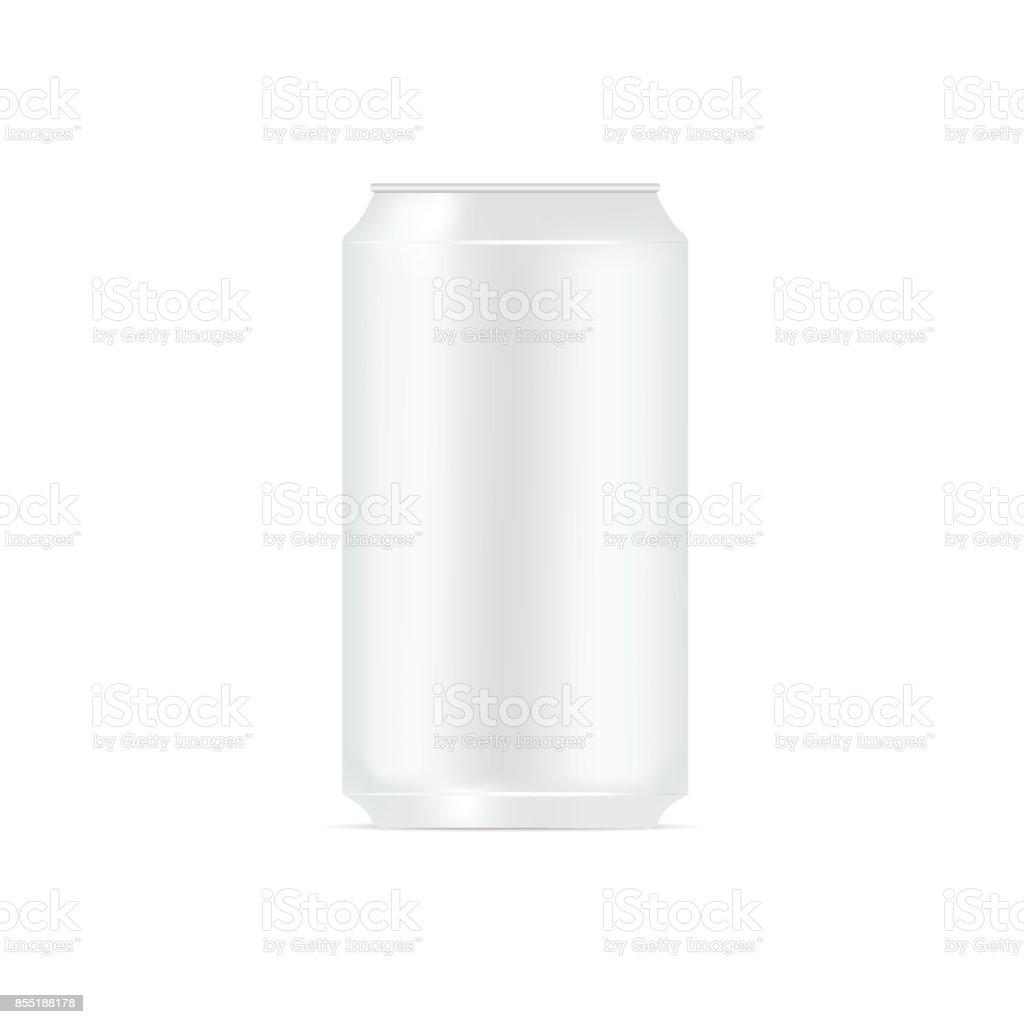 Mock up blank aluminum can on white background. Vector vector art illustration