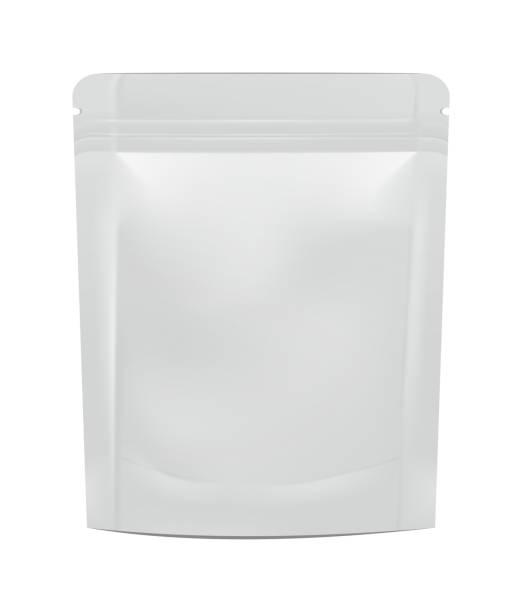 mock-up leere folie essen oder trinken doypack - plastikhülle stock-grafiken, -clipart, -cartoons und -symbole