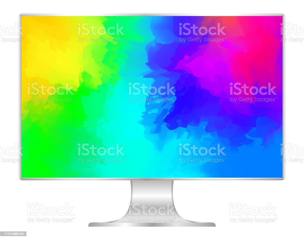 Mock Up Computer And Wallpaper Colorful Colors Flat Monitor
