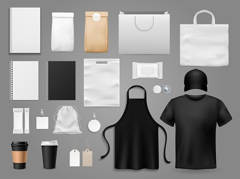 Mock up for cafe. Realistic paper menu styled up for restaurant brand, cup and branding clothes vector corporative style template set