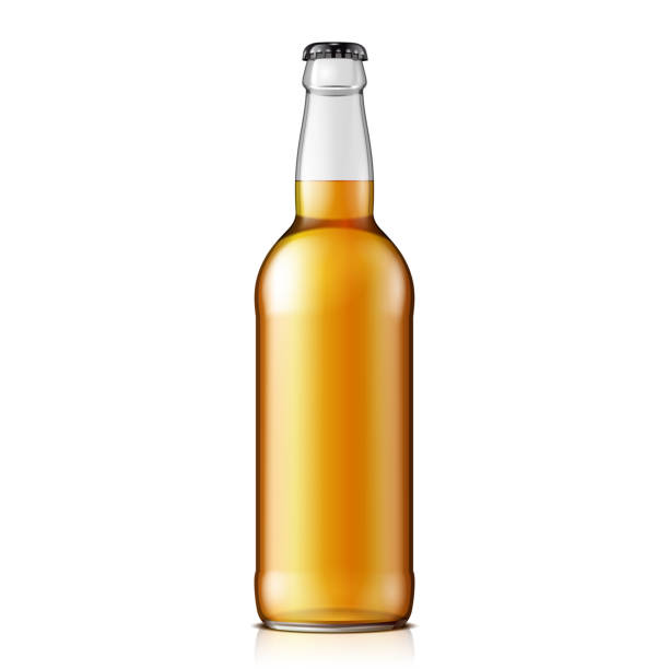 stockillustraties, clipart, cartoons en iconen met mock up glas limonade cola schone bierfles yellow brown op witte achtergrond geïsoleerd. klaar voor uw ontwerp. product verpakking. vector eps10 - bierfles