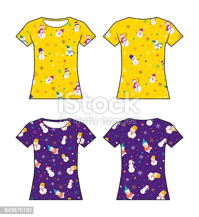 Mock up male's Christmas T-shirt. Yellow and purple color on white background. Front & back sides. Vector illustration.