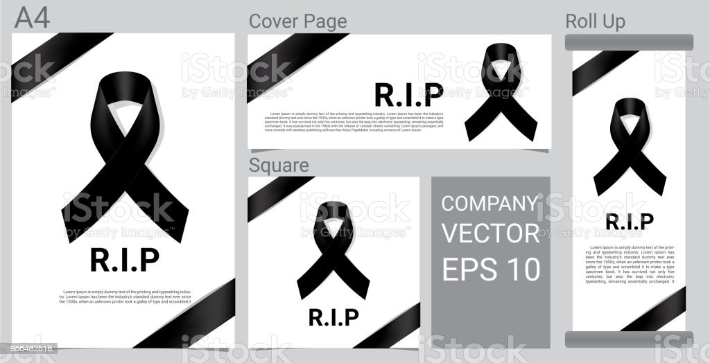 mock up mourning symbol with black respect ribbon on white