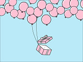 istock Mock up of gift box and balloons in minimal style. Vector illustration. 1281608996