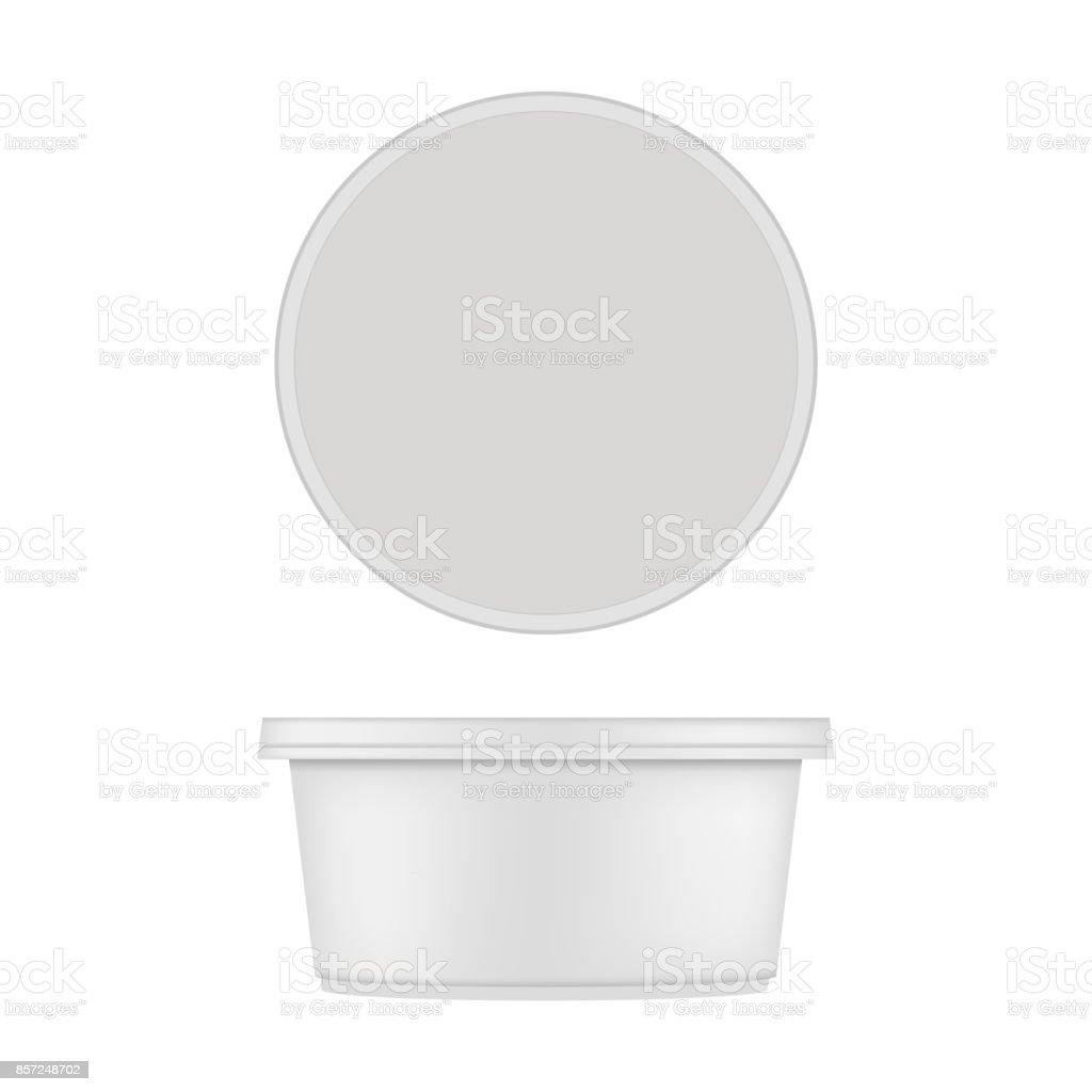 Mock up of round plastic tub for dessert. Vector isolated on white background. vector art illustration