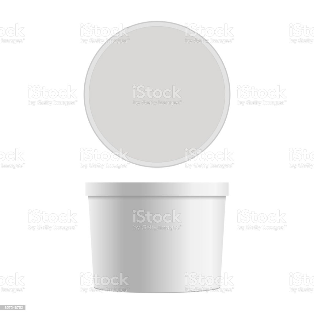 Mock up of round plastic tub for dessert. Vector isolated on white background. vector art illustration