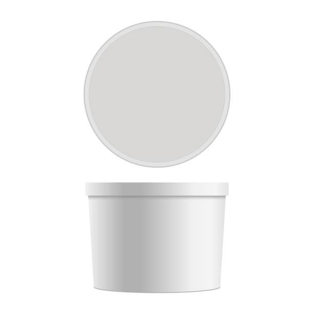 illustrazioni stock, clip art, cartoni animati e icone di tendenza di mock up of round plastic tub for dessert. vector isolated on white background. - gelato confezionato