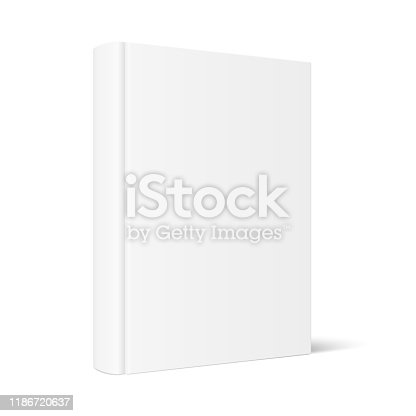 Vector mock up of standing book with white blank cover isolated. Closed vertical hardcover book, catalog or magazine mockup on white background. 3d illustration. Diminishing perspective.