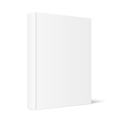 Mock up of standing book with white blank cover