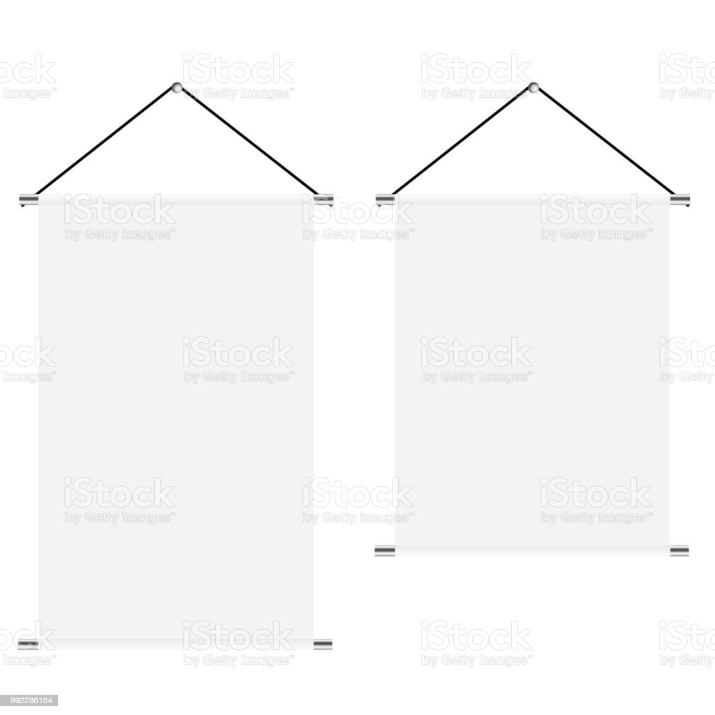 Mock Up Of White Blank Textile Banners With Folds Set Vector