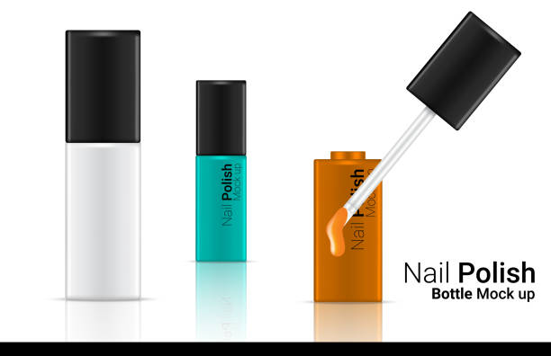 3D Mock up Realistic Bottle Cosmetic for Nail Polish on White Background Illustration vector white nail polish stock illustrations