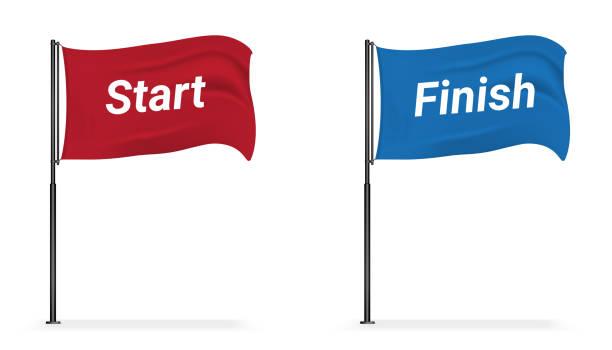 3d mock-up realistische flagge anzeige starten und finish für sport-ausstellung auf weißem hintergrund illustration - anfang stock-grafiken, -clipart, -cartoons und -symbole