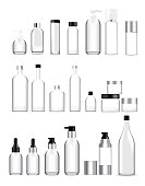 Mock up Realistic Glass Bottles Healthy and Cosmetic Packaging  Soap, Shampoo, Cream, Oil Dropper and Spray Set for Skincare Product  Background Illustration