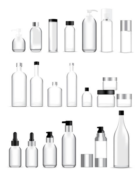 Mock up Realistic Glass Bottles Healthy and Cosmetic Packaging  Soap, Shampoo, Cream, Oil Dropper and Spray Set for Skincare Product  Background Illustration vector bottle stock illustrations