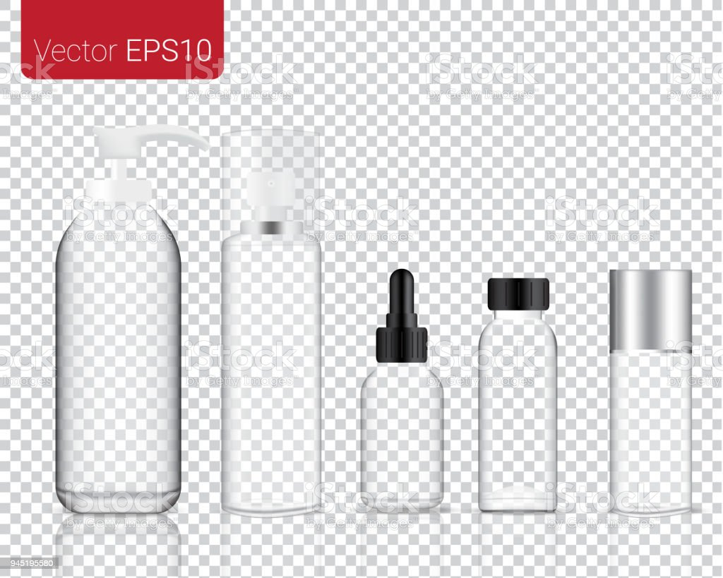 Mock up Realistic Glass Make up and Cosmetic Bottle isolated on a transparent background Set Background. vector art illustration